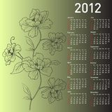 2012 vector calendar with flowers Royalty Free Stock Images