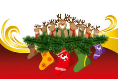 2012 vector christmas card with reindeers Stock Photography
