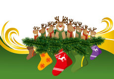 2012 vector christmas card with reindeers Royalty Free Stock Photos