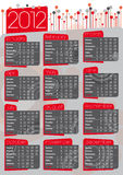 2012 vintage calendar in english. 2012 vintage 70' style calendar in english, red and grey colors Stock Images