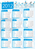 2012 vintage seventies english calendar. In blue and gray colours Stock Illustration