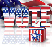 2012 Vote. Digital Illustration concept of 2012 voting box with Text VOTE in the background Royalty Free Stock Image
