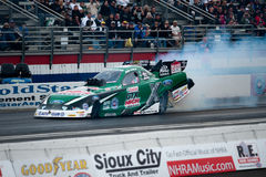 2012 Winternationals John Force funny car. John Force opens the 2012 season with sixth Winternationals win in Pomona, CA.  Force beat GSX teamate Mike Neff to Royalty Free Stock Photography