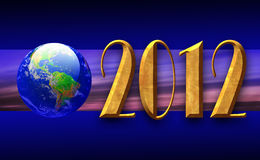 2012 World Banner. Banner showing a globe and the year 2012 in textured gold royalty free illustration