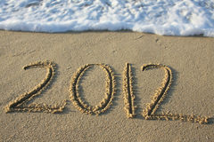 2012 written in the sand Stock Photos