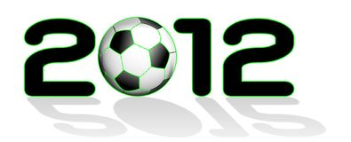 2012 written with soccer ball Royalty Free Stock Photos