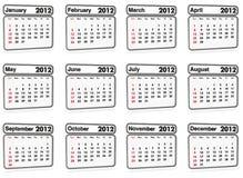 2012 wszystkie kalendarzowego miesiąc Obraz Royalty Free