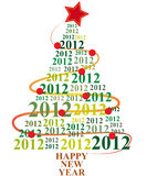 2012 xmas tree. Illustration of xmas tree with 2012 year Royalty Free Stock Images