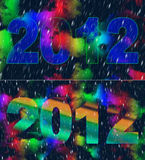 2012 Year. Two graphic and artistic illustrations, can be used as a holiday background also as a separate part for your project Stock Images
