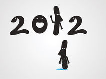 2012 year. There comes 2012 and one unit should leave vector illustration