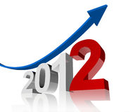 2012 year arrow up. Arrow going up means good year Royalty Free Stock Photography