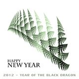 2012 - year of the Black Dragon. Stylized congratulation on New 2012 - year of the Black Dragon Stock Photo
