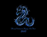 2012 is Year of Black Water Dragon. Liquid concept of New Year 2012 illustration for greeting card, calendar cover Stock Images