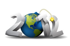 2012 year bomb. With globe 3D Royalty Free Stock Images