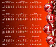 2012 year calendar. With christmas balls Royalty Free Stock Photos