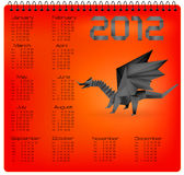 2012 year calendar with black origami dragon. Vector vector illustration