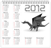 2012 year calendar with black origami dragon. Vector royalty free illustration