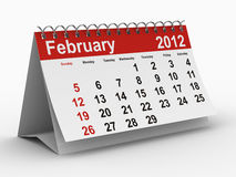 2012 year calendar. February. Isolated 3D image Royalty Free Stock Photography