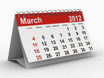2012 year calendar. March. Isolated 3D image Vector Illustration