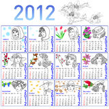 2012 year calendar in vector. Hand-drawn fashion model Stock Photo