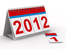2012 year calendar on white background. Isolated 3D image Vector Illustration