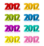 2012 year colorful objects. Colorful 3D 2012 objects isolated on white background royalty free illustration