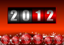 2012 year counter. With christmas balls Royalty Free Stock Image