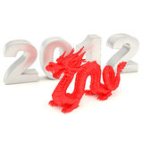 2012-year of dragon. 2012-year dragon (3D render Stock Images