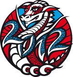 2012 - Year of the Dragon. There is a dragon in a circle with the date 2012 stock illustration