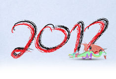 2012 Year of the dragon. Happy new year 2012 Recycled Paper Craft Vector Illustration