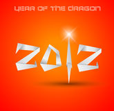 2012 Year of the Dragon backgroud. Original origami style 2012 for new year celebration posters, brochures or flyers stock illustration