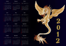 2012, year of the dragon and leap. Pictured with months and days royalty free illustration