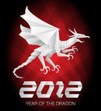2012 Year of the Dragon - origami. 2012 Year of the Dragon - Detailed Origami Style with background Royalty Free Stock Images
