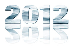 2012 year with reflection. On white background Stock Photos