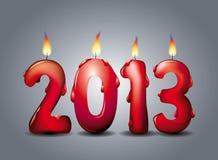 2013个被点燃的蜡烛 免版税图库摄影