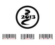 2013年与条形码的蛇 库存照片