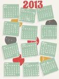 2013年葡萄酒样式日历 免版税库存照片