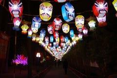 2013春节公平的灯会和的寺庙 库存照片