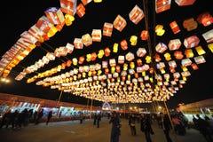 2013春节公平的灯会和的寺庙 免版税库存图片