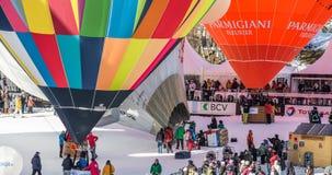 2013第35个热空气气球节日,瑞士 免版税库存图片