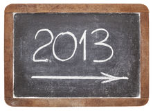 2013 år på blackboarden Royaltyfria Bilder
