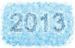 2013 år titel, frostiga snowflakes Royaltyfri Foto