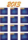 2013 år vektorkalender Royaltyfria Bilder