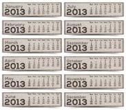 2013 ημερολογιακές ετικέτες Στοκ Εικόνες