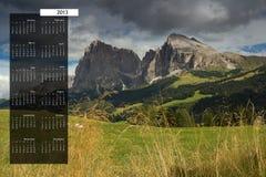 2013 ημερολόγιο στην ενιαία σελίδα Στοκ εικόνες με δικαίωμα ελεύθερης χρήσης