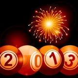 2013年宾果游戏抽奖球和烟花 库存图片