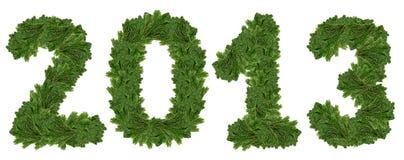 2013年,圣诞树字体。 免版税库存图片