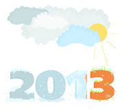 2013 - 02. Illustration with a symbol of year 2013 - 02 Royalty Free Stock Images