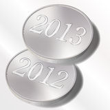 2013 2012. No background illustration of silver coins Stock Image