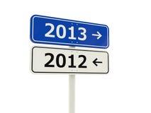 2013-2012 segnale stradale di nuovo anno Immagini Stock Libere da Diritti